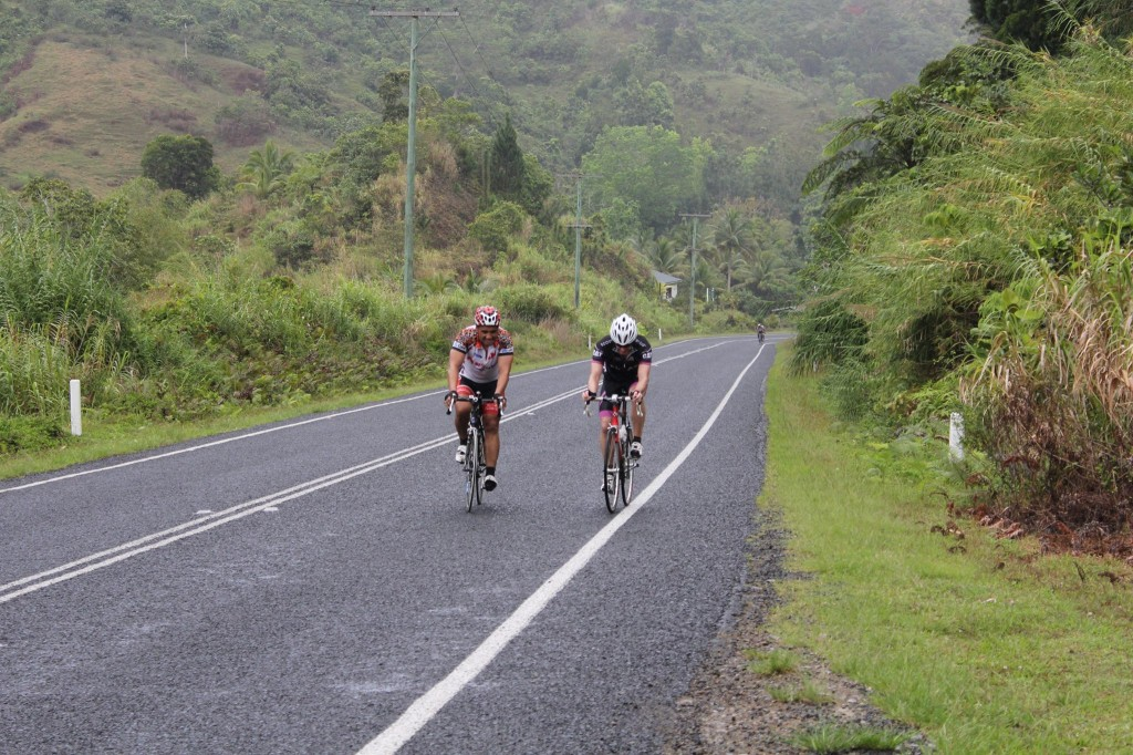 Carl Ngamoki-Cameron and Peter Hutchings in the Serua hills